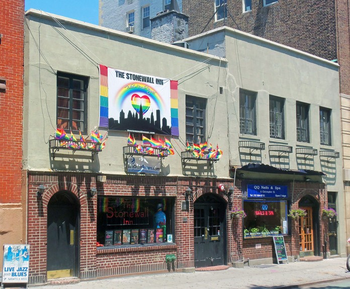 Stonewall Inn 2012 with gay-pride flags and banner